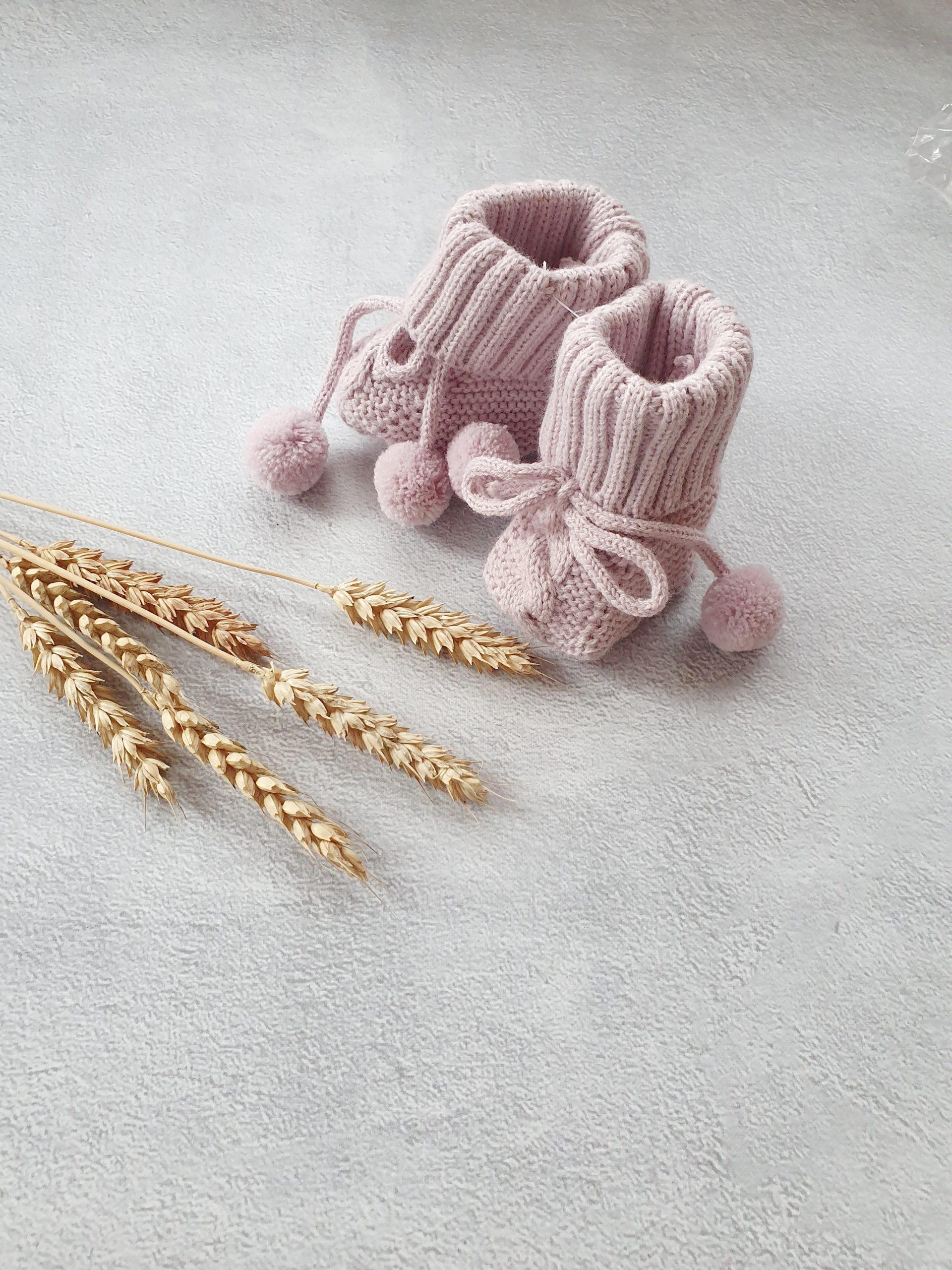 Пинетки с завязками для новорожденного (0-6 мес), лаванда