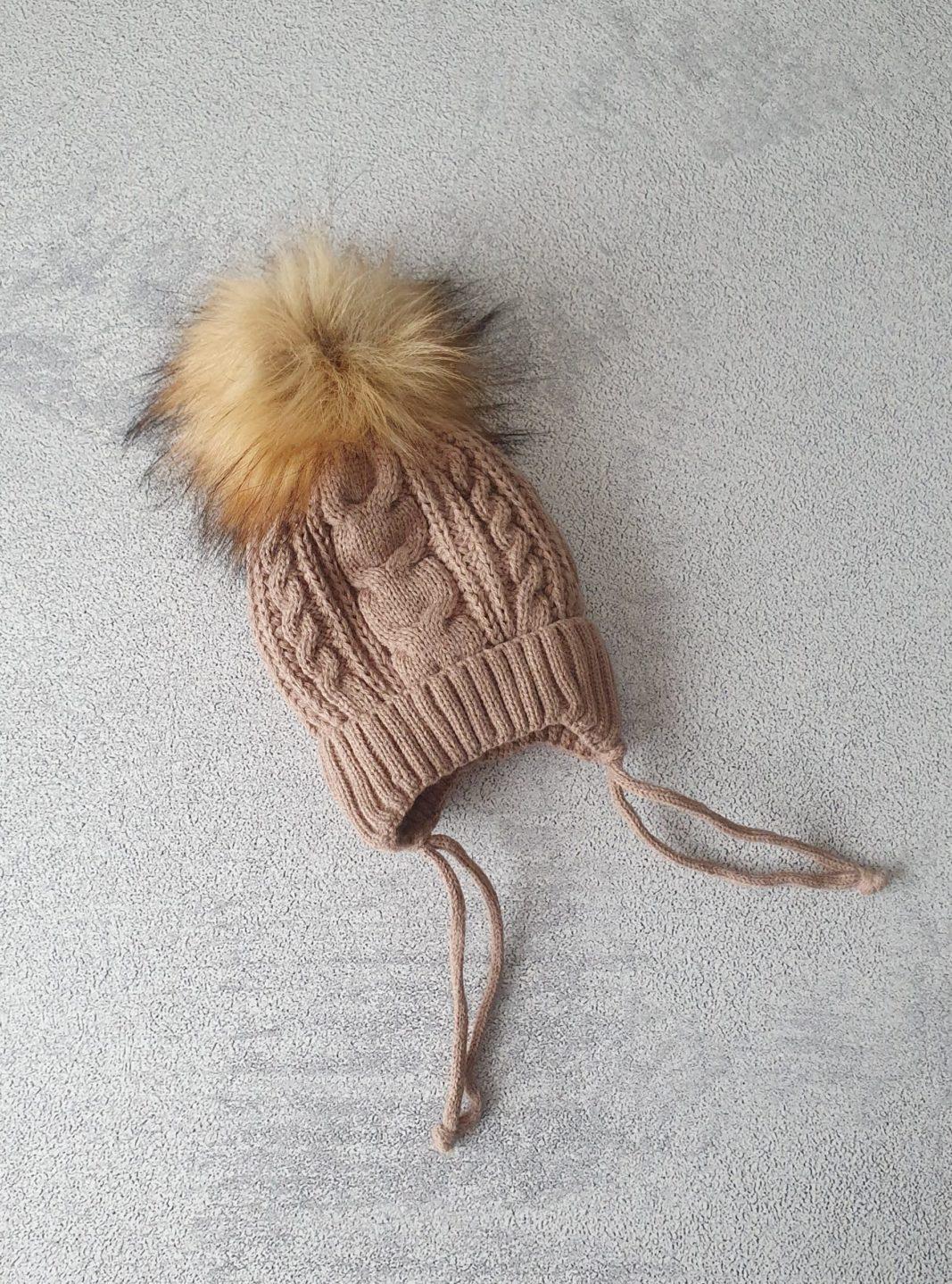 Зимняя шапка для новорожденных, 0-3мес (шоколад)