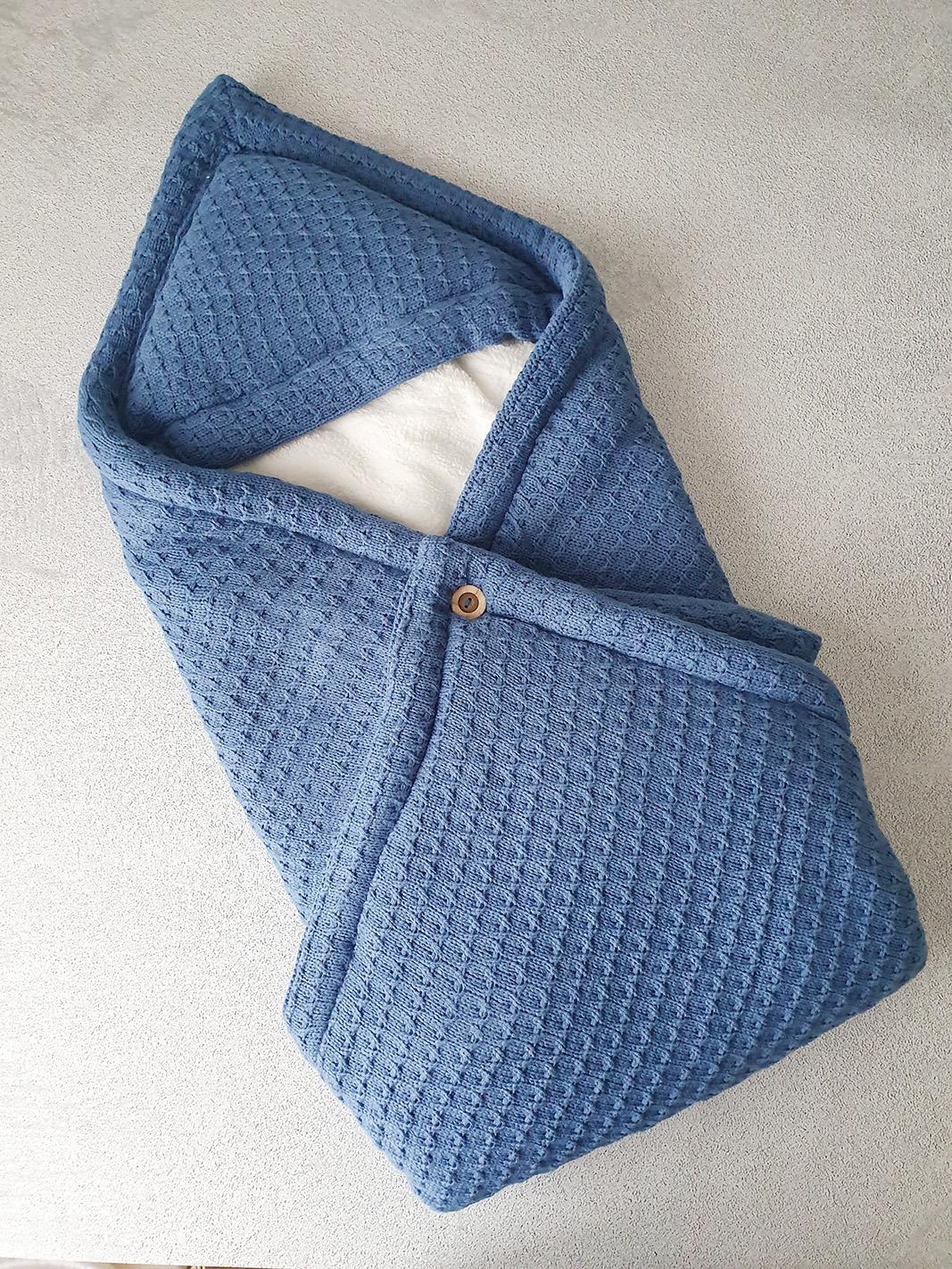 Теплый плед-конверт (синий)