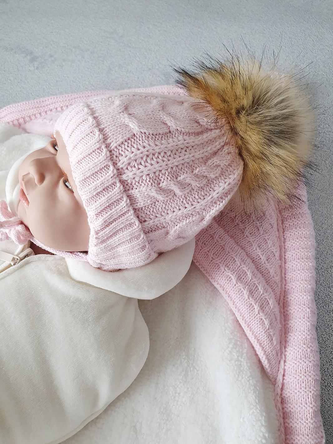 Зимняя шапка для новорожденных, 0-3мес (розовая)