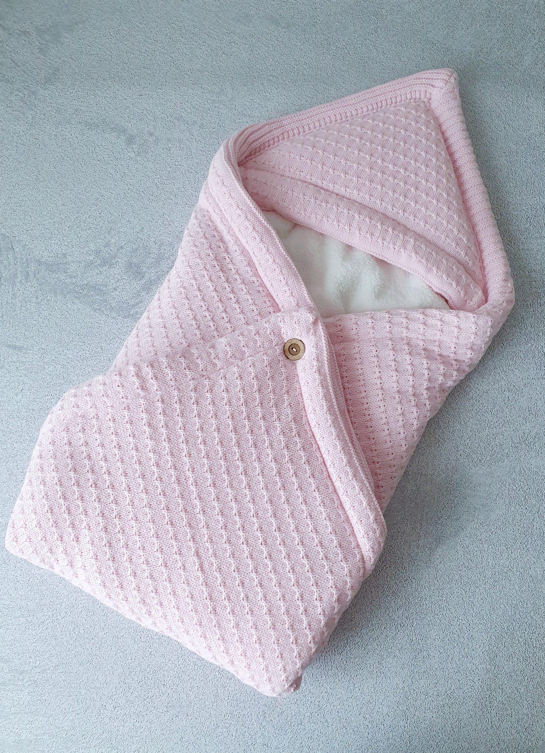 Теплый плед-конверт (розовый)